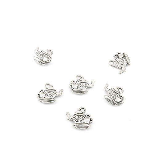 Qty 100 Pieces Ancient Silver Jewelry Making Charms Findings P0581 Teapot Pendent Bulk for Bracelet Necklace