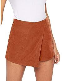 WDIRARA Pantalones Cortos asimétricos de Cintura Media con Nudo en Contraste para Mujer, Marrón, L