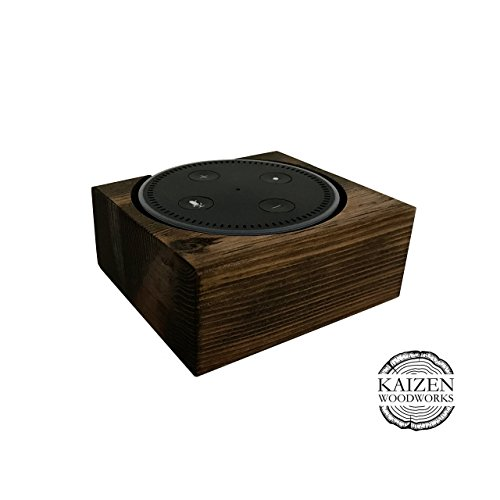 Echo Dot Wood Stand, Espresso, 4x4x2, Distressed, Rustic Amazon Alexa Stand, Handmade in USA, Fits Echo Dot 2nd Generation, Decorative Wood Holder For…