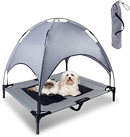 Topmart Elevated Dog Bed,Dog Cot with Removable Canopy,Portable Indoor & Outdoor Pet Bed,Easy to Assemble,Breathable Fabric,with Extra Carrying Bag,Suitable for Camping Traveling Beach Lawn