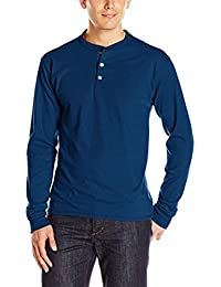 Men Spring Long Sleeve O-Neck Button Basic Solid Pure Color Blouse Tee Shirt Top