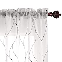 Deconovo Rod Pocket Wave Line with Dots Linen Look Voile Curtain 1 Panel