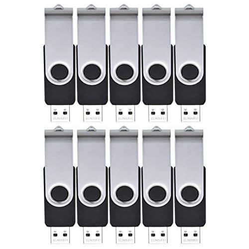 128MB USB 2.0 Flash Drive Bulk Pack of 10 - Small Capacity Data Storage Memory Stick Thumb Drives - Swivel Pendrive Zip Drive Black Jump Drives by FEBNISCTE