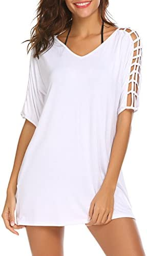 SimpleFun Women's Deep V-Neck Gridding Sleeve Loose Stylish Beach Swimsuit Bikini Cover Up Dress