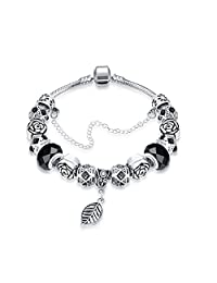 Yingbo Fashion Charm Bracelet for Teen Girls and Women with Safe Chain Flower Themed Charms