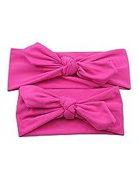 Zerama 2pcs/Set Mom Baby Rabbit Ears Headbands Parent Child Bowknot Hairband Turban Knot Elastic Headwear Hair Wrap