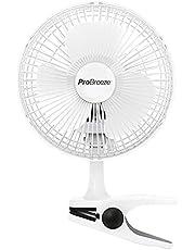 Pro Breeze Mini ventilator met clip - 2 snelheidsniveaus, 15 cm, sterke + stabiele klem - ideaal als tafelventilator op kantoor of thuis in de slaapkamer - Wit