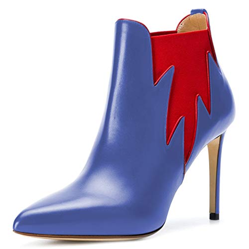 FSJ Chelsea Shoes Booties Graceful 4 15 Toe US Leaf Women Ankle Blue High Closed Heels Size Boots xxCqfRwr