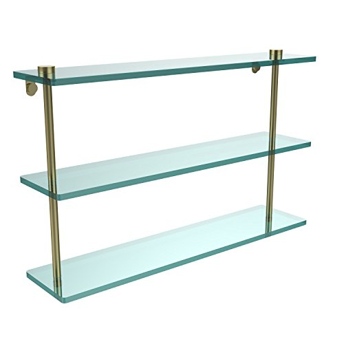 Triple Glass Shelf Brass Allied - Allied Brass NS-5/22-SBR 22 Inch Triple Tiered Glass Shelf, Satin Brass