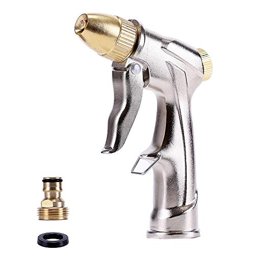 Kusmil Hose Nozzle Sprayer, High Pressure Water Gun with Full Brass Nozzle in 4 Spraying Modes for Watering Plants, Washing Car and Pets