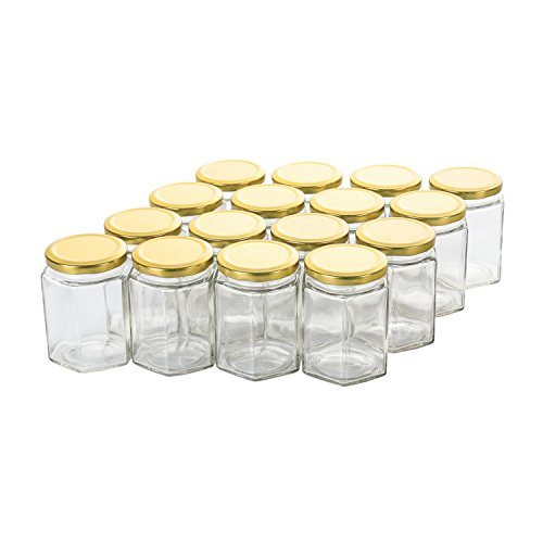 Hexagon Jars Gold Lid (16pcs, 10 oz) Hexagon Glass Jars with Gold Plastisol Lined Lids for Jam Honey Jelly Wedding Favors Baby Shower Favors Baby Food DIY Magnetic Spice Jars Crafts Canning Jars (10 Oz Jelly Jar)