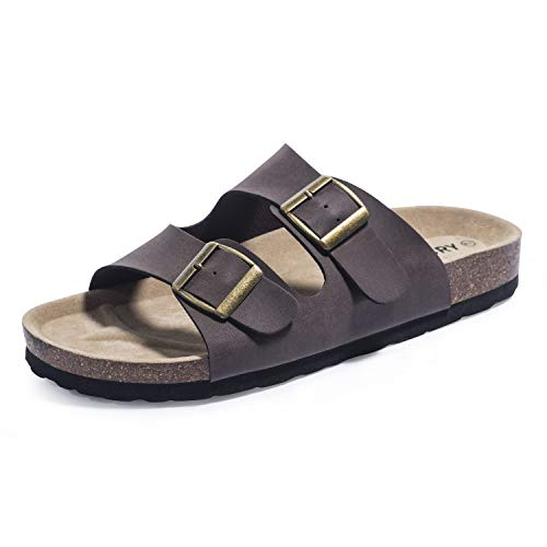 FITORY Womens Sandals Cork Footbed Leather Slides with Double Adjustabe Buckle Straps Size 6-11 Brown