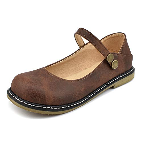100FIXEO Women Buckle Ankle Strap Mary Jane Flat Shoes (10 M US, Dark Brown) ()