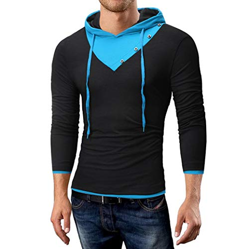 - iZHH Mens Pure Color Joint Fastener Stitching Hoodie Long Sleeve Shirt Top Blouse(Black,US-XL)