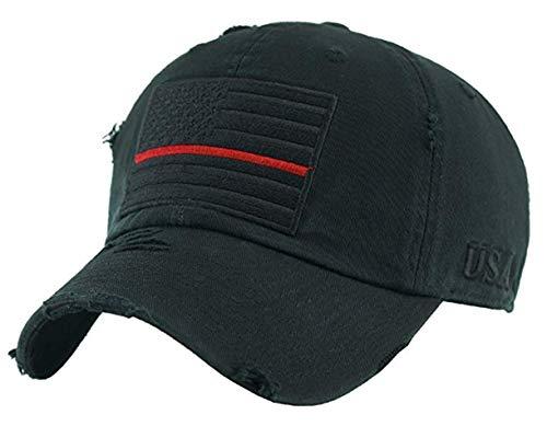 (BHM-205-AF-0642 Mens Baseball Cap - American Flag Red Line - Black)