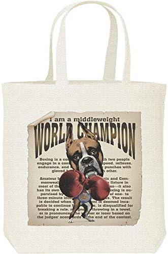 エムワイディエス(MYDS) ボクシング世界チャンピオン(ボクサー犬)/キャンバス M トートバッグ