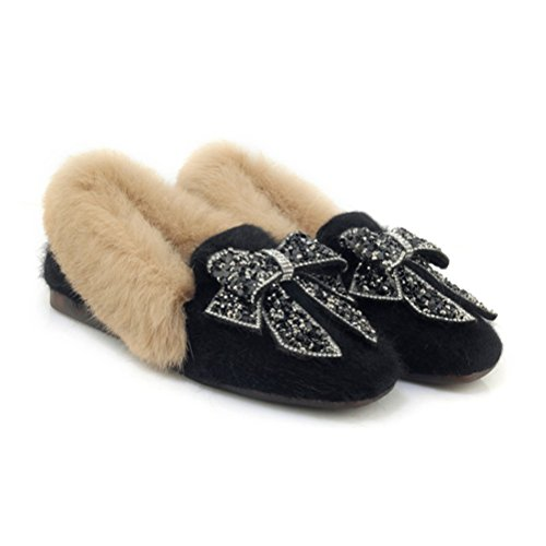 Agodor Womens Mules Flats Faux Fur Slippers With Bowtie Slip On Warm Sweet Shoes Black NYzGOd
