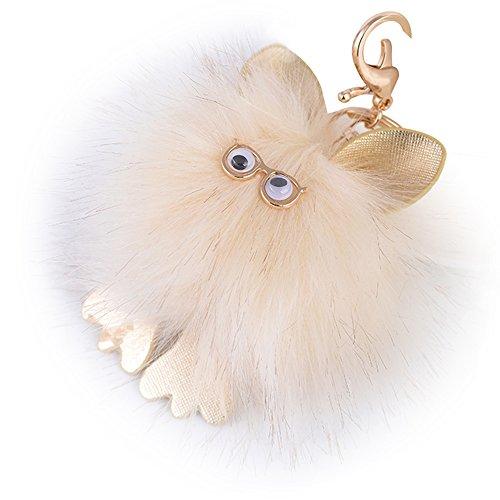 Price comparison product image Aibearty Creative Cute Glasses Owl Fur Plush Key chain Bag Pendant Phone Chain Car Accessory (creamy white)