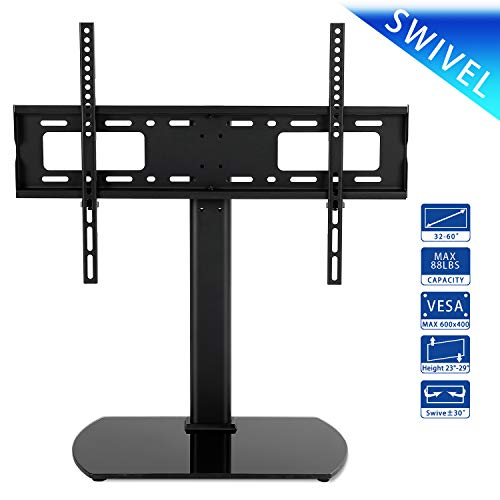 Rfiver Universal Swivel Tabletop TV Stand with Mount for 32 37 40 42 43 47 50 55 60 inch LED,LCD and Plasma Flat Screen TVs with Height Adjustment VESA 600x400mm, UT2001