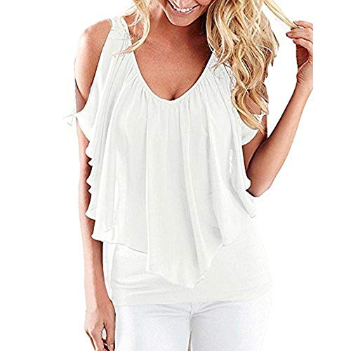 Women Tops Summer Plus Size Blouse Irregular Chiffon Blouses Off Shoulder Solid Shirts Tops White