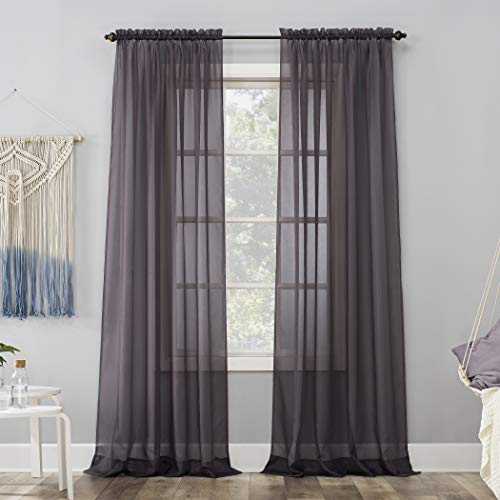 "59""x63"" Emily Sheer Voile Rod Pocket Curtain Panel Purple - No. 918"
