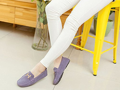 Faloaon Mujeres Loafers Driving Shoe Suede Leather Ladies Slip En Azul