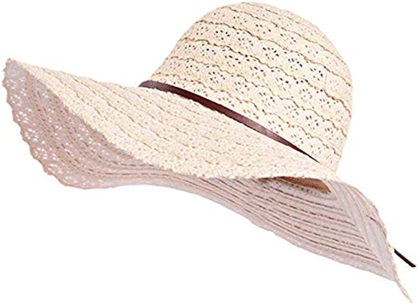 be03de30959d4e Summer Beach Sun Hats for Women, Foldable Floppy Cotton UV Hat, Adjustable Wide  Brim