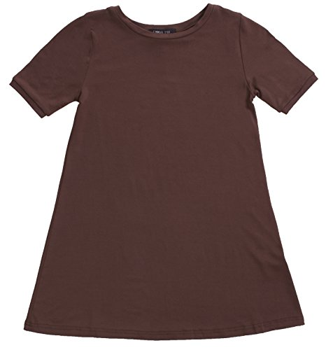 Emmalise Clothing Girl's Summer Spring Casual Fashion Jersey T-Shirt Dress - Brown 11/12