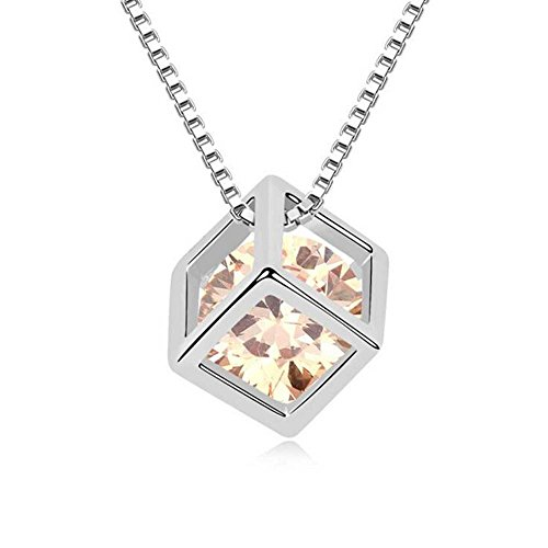 Winter's Secret Austrian Crystal Yellow Love Square Silver Plated Zircon Necklace Delicate Fashion Jewelry