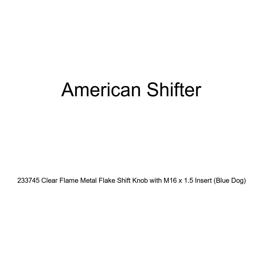 American Shifter 233745 Clear Flame Metal Flake Shift Knob with M16 x 1.5 Insert Blue Dog