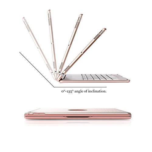 Keyboard Case for iPad Pro 12.9,7 Colors Backlight Slim Aluminum Wireless Keyboard with Protective Translucent Silicone Keyboard Cover and 5600 mAh Power Bank for iPad Pro 12.9 inch(12.9 Rose Gold) by KINGZE (Image #4)