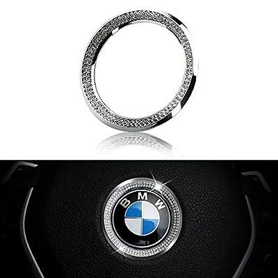 LECART Crystal Bling Steering Wheel Emblem Badge Logo Cover Trim Circle Ring Center Decor Logo Decoration Interior Accessory for BMW 1 2 3 5 7 Series X1 X 3 X 5 X6 Z3 Z4 i3 i8 E30 E34 E36 E39 Silver: Automotive