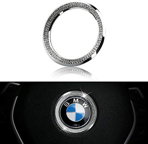 LECART Crystal Bling Steering Wheel Emblem Badge Logo Cover Trim Circle Ring Center Decor Logo Decoration Interior Accessory for BMW 1 2 3 5 7 Series X1 X 3 X 5 X6 Z3 Z4 i3 i8 E30 E34 E36 E39 Silver