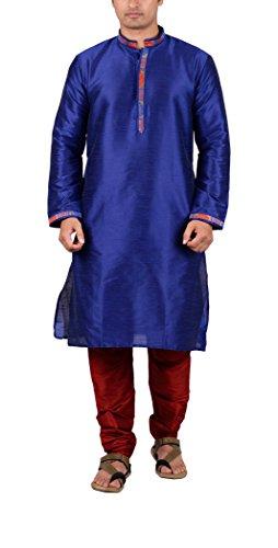 Maharaja Mens Raw Silk Festive Kurta Pyjama Set in Bright Blue [MSKP005-40] ()