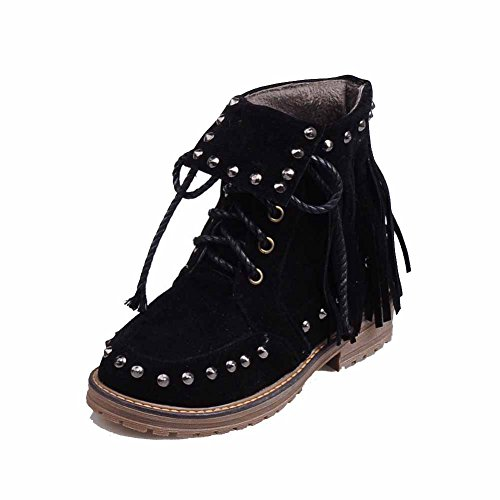 Top Low Low Heels Closed Round Up Black Lace Women's AmoonyFashion Toe Boots SqAwnxW4S