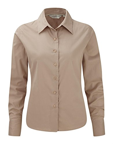 Russell Collection Ladies Long Sleeve Classic Twill Shirt XL/16 Khaki