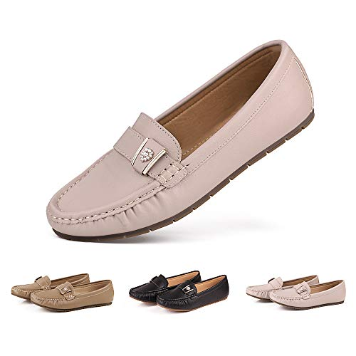 (sorliva Women's Leather Penny Loafers Soft Casual Driving Flat Boats Shoes (9, Beige))