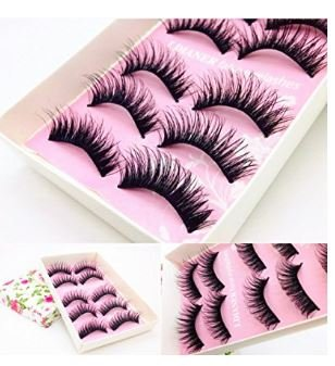 Laimeng,5 Pairs Fashion Natural Handmade Long False Black Eyelashes Makeup