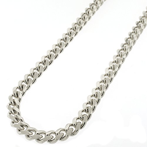 Sterling Silver 7.5mm Miami Cuban Curb Link Thick Solid 925 Rhodium Chain Necklace 24'' - 30'' (24) by In Style Designz