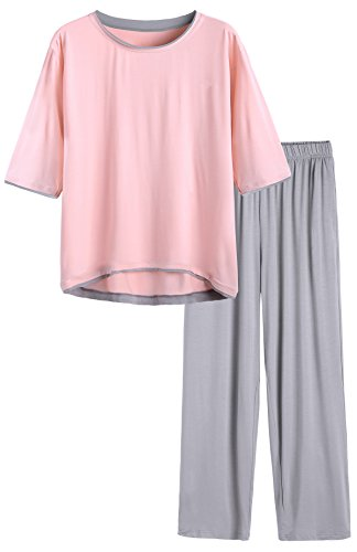 Latuza Women's Half Sleeve Pajama Set 3X Plus Pink2