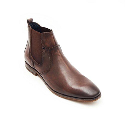 AARZ LONDON De los hombres Gents Formal Inteligente Trabajo de oficina Noche Fiesta Vestir Ponerse Elástico Botas Zapatos tamaño Marrón