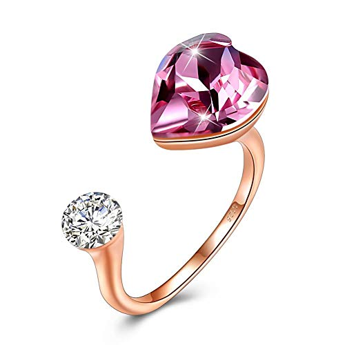 SEKAYISORE Love Heart Crystal Adjustable Open Rings 925 Sterling Silver Simulated Finger Rings Jewelry Gifts by SEKAYISORE (Image #4)