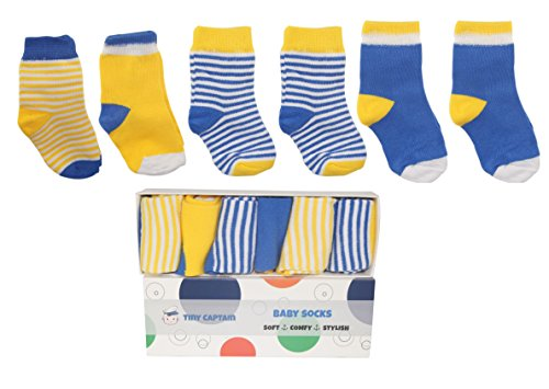 Toddler Boys Baby Socks Best Gift Set From Tiny Captain ( 6 Pack) (Medium, Blue White and Yellow)