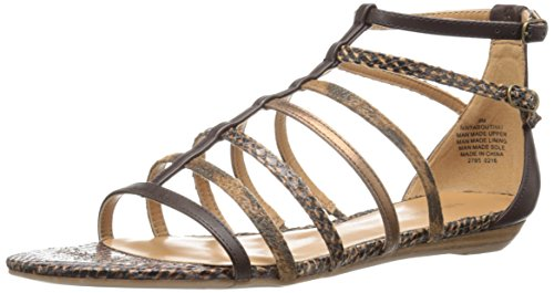 Nine West Women's Aboutthat Synthetic Dress Sandal, Cognac Multi, 8.5 M US (Nine West Flat Sandals Women)