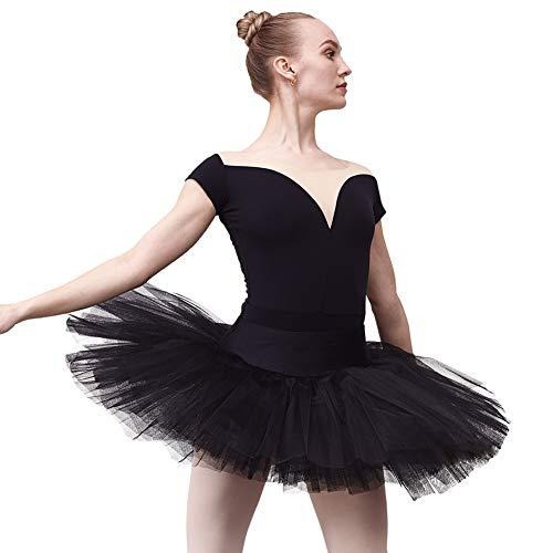DANCEYOU Classic Women's Ballet Tutu Skirt for Dance Practice Performance Black Size M