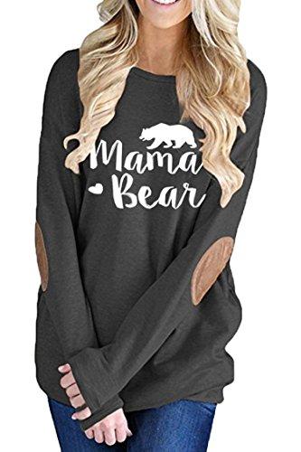 Women Bear (Pink Queen Women's Long Sleeve Mama Bear Printed Pachwork T-Shirts Black L)