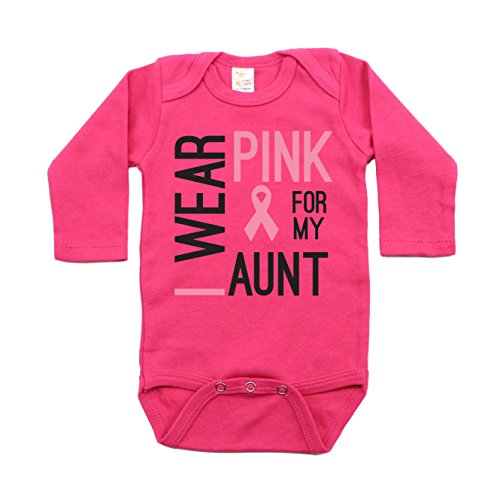 Breast Cancer Awareness Pink For My Aunt Long Sleeve Baby Bodysuit 3-6M, ()
