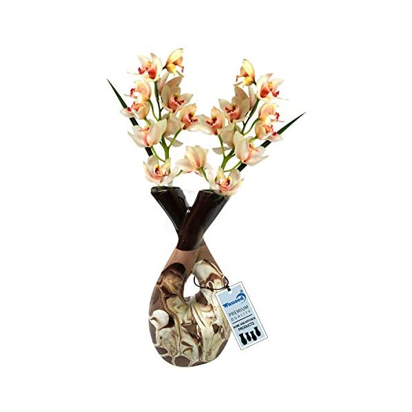 Hand Painted Double Face Flower Wauood Vase Pot for Home Decor