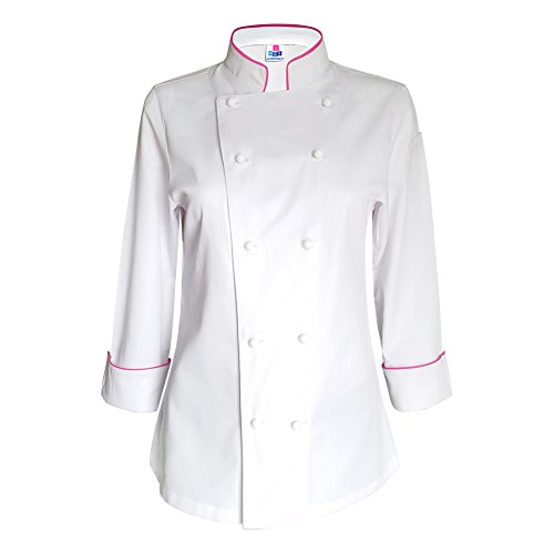10oz Apparel Long Sleeve Womens White Chef Jacket with Hot Pink Piping XS by 10oz apparel