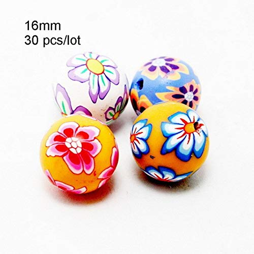 racelet Assorted Colors Ball Round Fimo Polymer Clay Ceramic Spacer Loose Beads for Woman Fashion Jewelry - (Color: 16mm 30pcs) ()